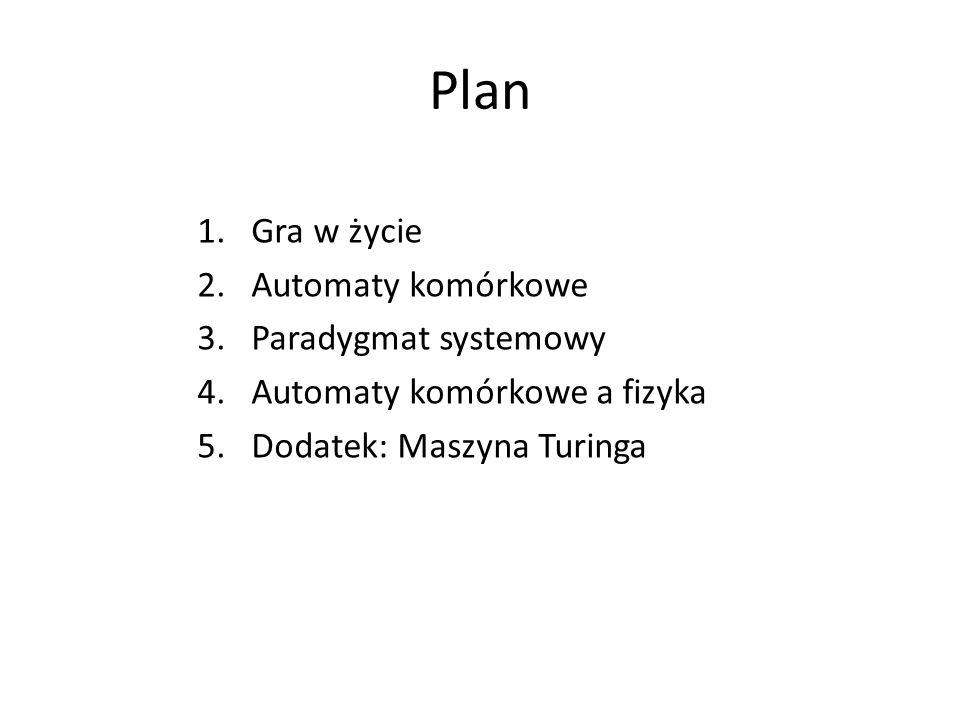Plan Gra w życie Automaty komórkowe Paradygmat systemowy