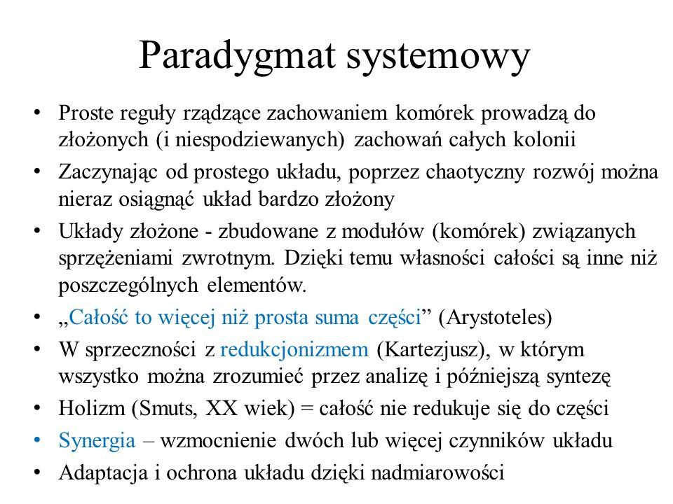 Paradygmat systemowy Proste reguły rządzące zachowaniem komórek prowadzą do złożonych (i niespodziewanych) zachowań całych kolonii.