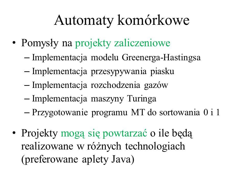 Automaty komórkowe Pomysły na projekty zaliczeniowe