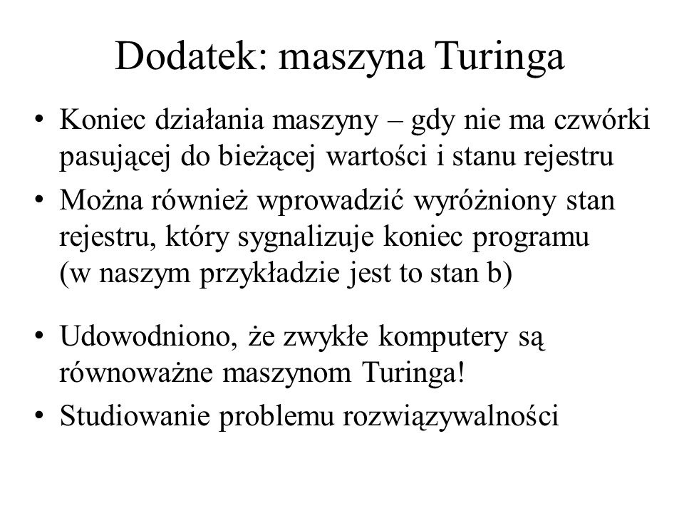 Dodatek: maszyna Turinga