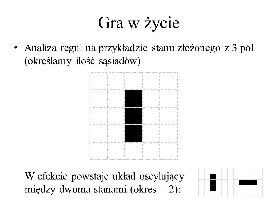 Gra w życie Analiza reguł na przykładzie stanu złożonego z 3 pól (określamy ilość sąsiadów)
