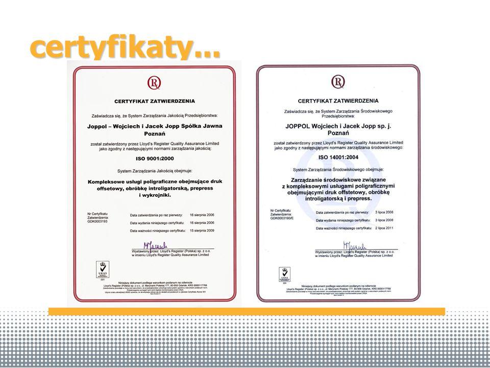 certyfikaty...