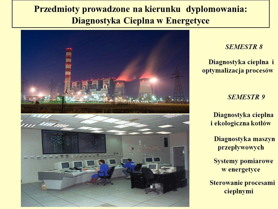 Przedmioty prowadzone na kierunku dyplomowania: Diagnostyka Cieplna w Energetyce