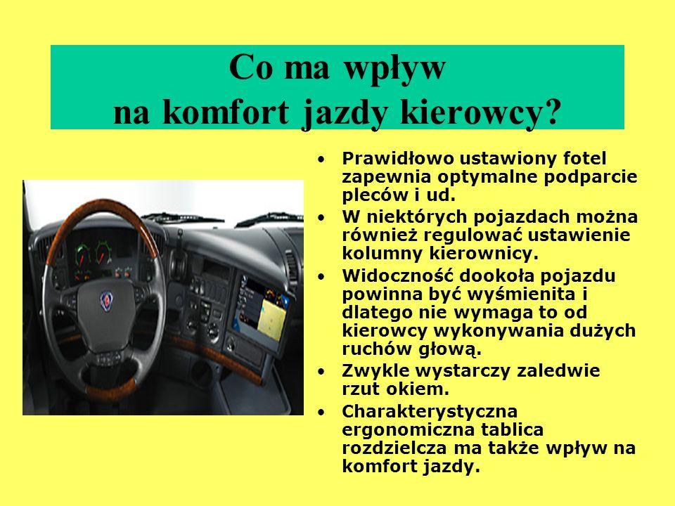 Co ma wpływ na komfort jazdy kierowcy