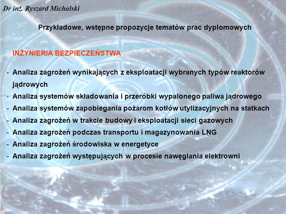 Przykładowe, wstępne propozycje tematów prac dyplomowych