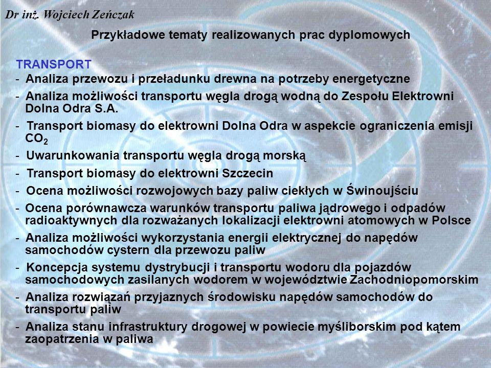 Przykładowe tematy realizowanych prac dyplomowych
