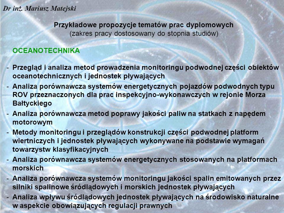 Przykładowe propozycje tematów prac dyplomowych