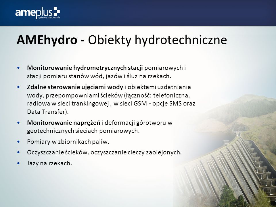 AMEhydro - Obiekty hydrotechniczne