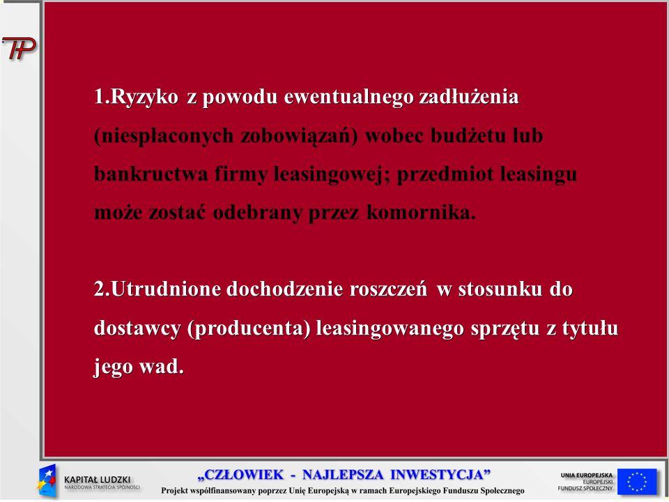 Ryzyko z powodu ewentualnego zadłużenia (niespłaconych zobowiązań) wobec budżetu lub bankructwa firmy leasingowej; przedmiot leasingu może zostać odebrany przez komornika.