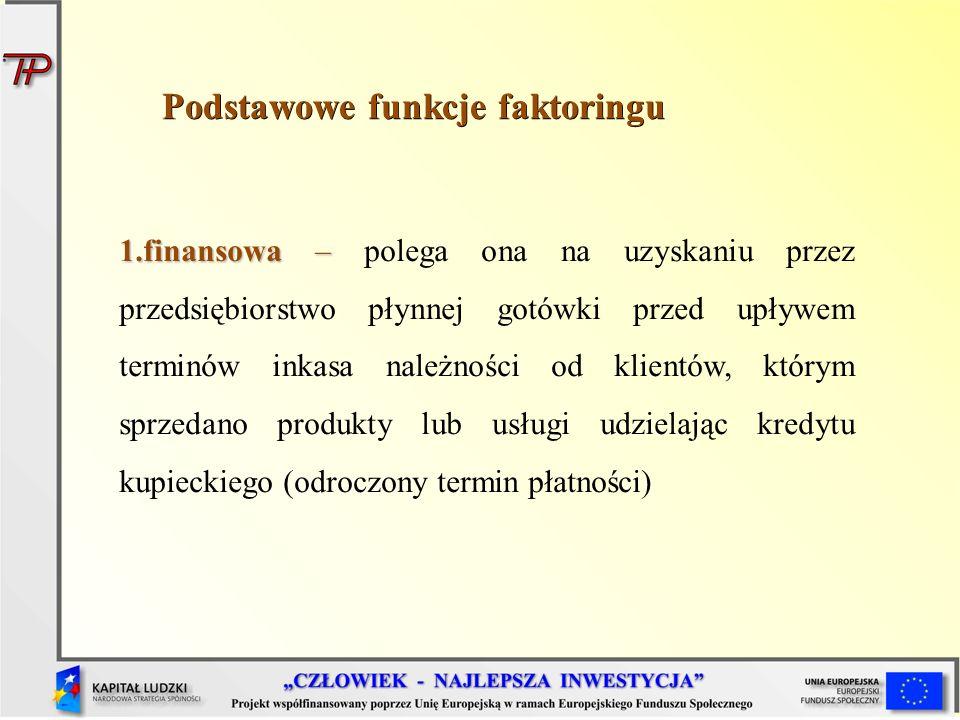 Podstawowe funkcje faktoringu