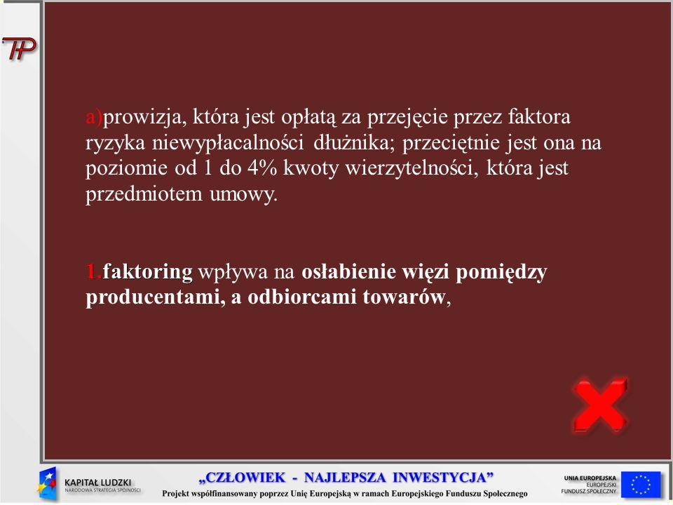 prowizja, która jest opłatą za przejęcie przez faktora ryzyka niewypłacalności dłużnika; przeciętnie jest ona na poziomie od 1 do 4% kwoty wierzytelności, która jest przedmiotem umowy.