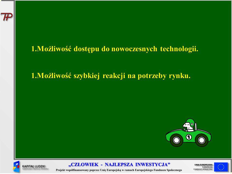 Możliwość dostępu do nowoczesnych technologii.
