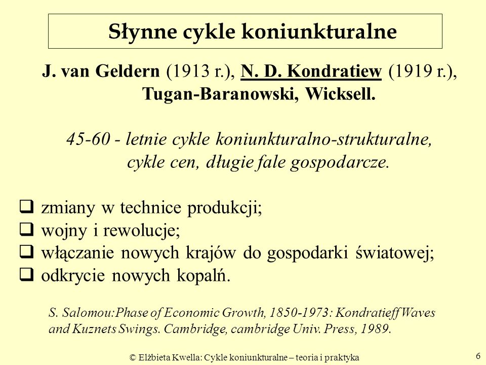Słynne cykle koniunkturalne