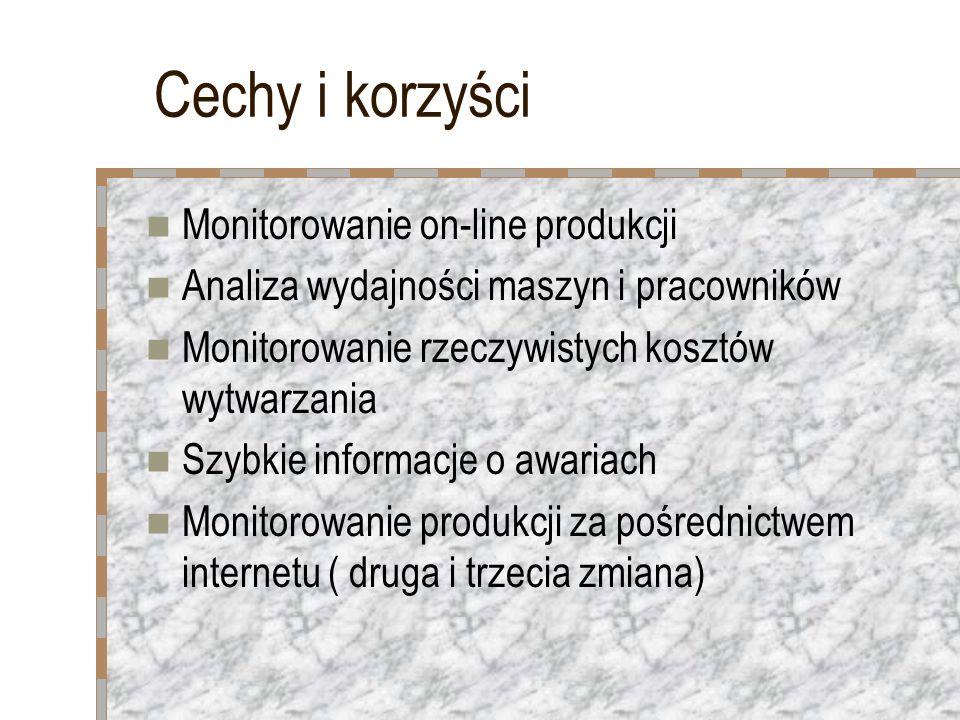 Cechy i korzyści Monitorowanie on-line produkcji