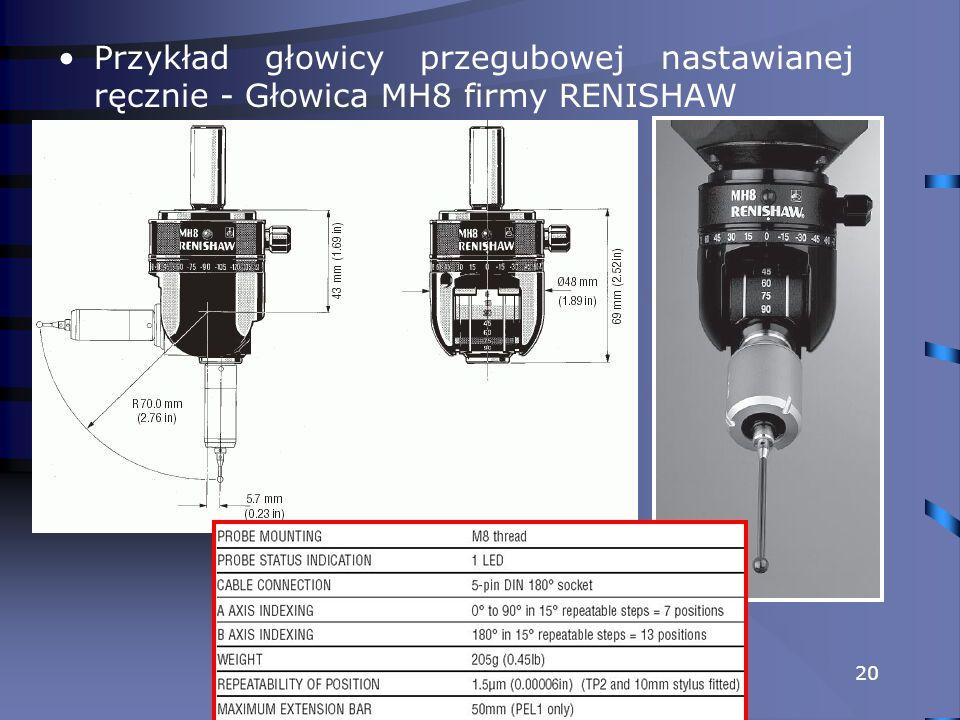 Przykład głowicy przegubowej nastawianej ręcznie - Głowica MH8 firmy RENISHAW