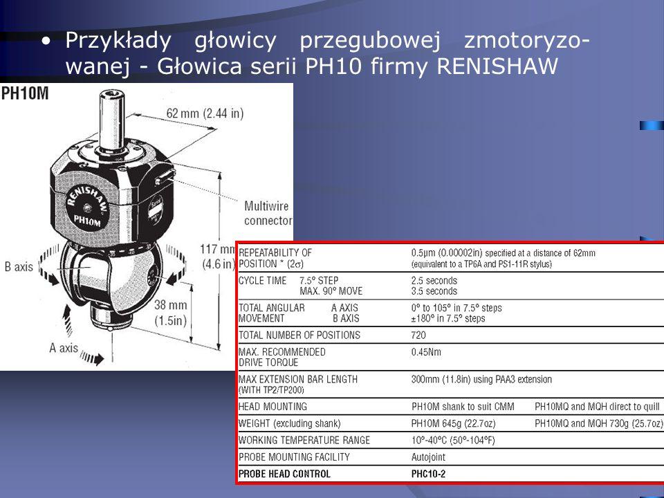 Przykłady głowicy przegubowej zmotoryzo-wanej - Głowica serii PH10 firmy RENISHAW