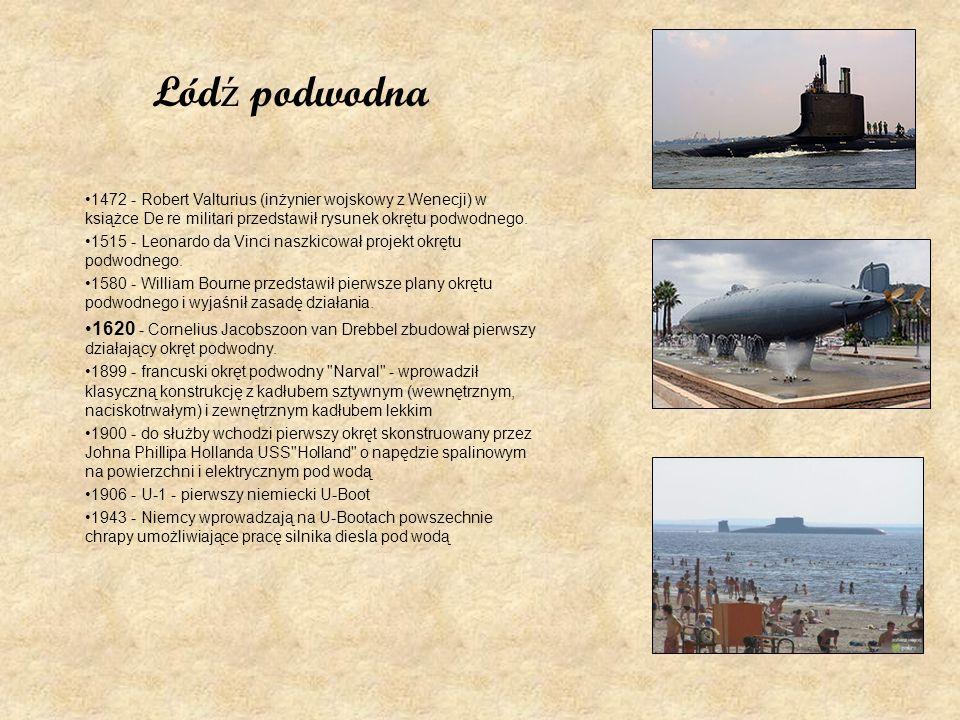 Łódź podwodna1472 - Robert Valturius (inżynier wojskowy z Wenecji) w książce De re militari przedstawił rysunek okrętu podwodnego.
