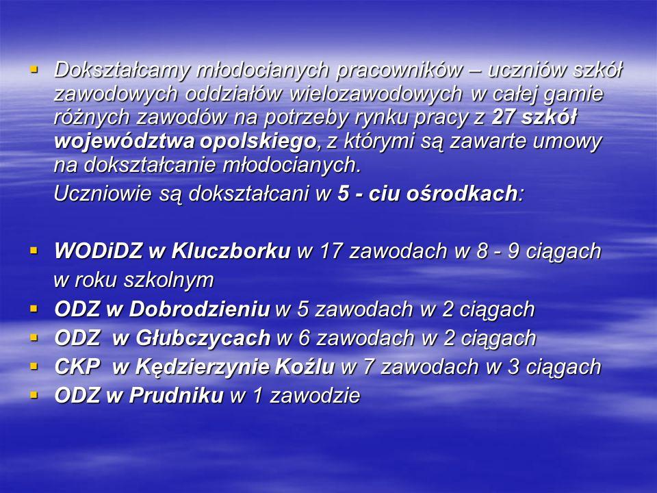 Dokształcamy młodocianych pracowników – uczniów szkół zawodowych oddziałów wielozawodowych w całej gamie różnych zawodów na potrzeby rynku pracy z 27 szkół województwa opolskiego, z którymi są zawarte umowy na dokształcanie młodocianych.