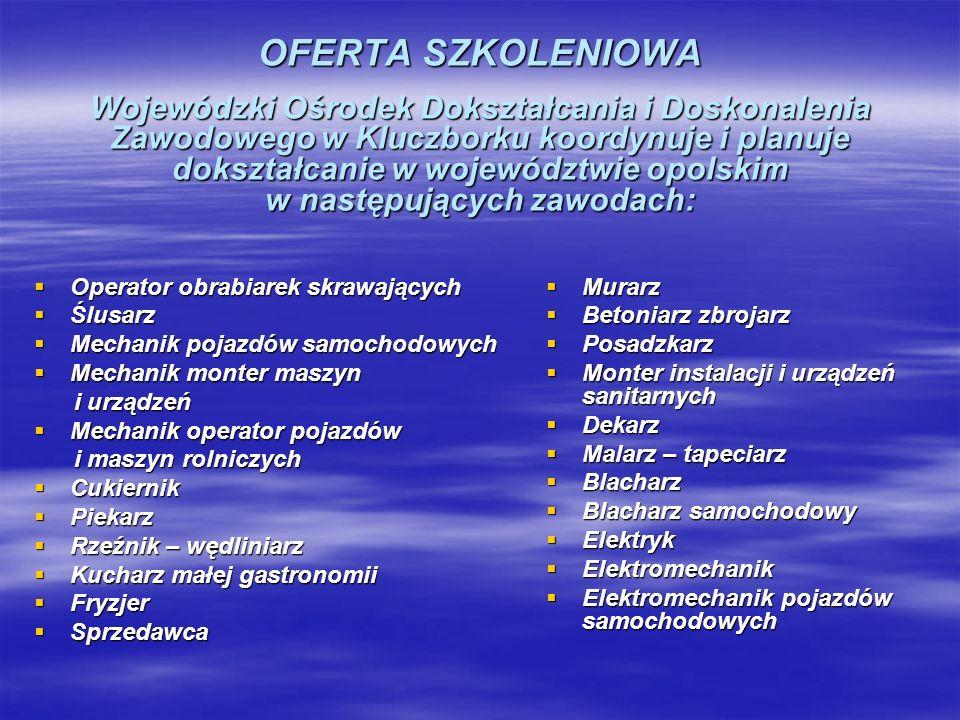 OFERTA SZKOLENIOWA Wojewódzki Ośrodek Dokształcania i Doskonalenia Zawodowego w Kluczborku koordynuje i planuje dokształcanie w województwie opolskim w następujących zawodach: