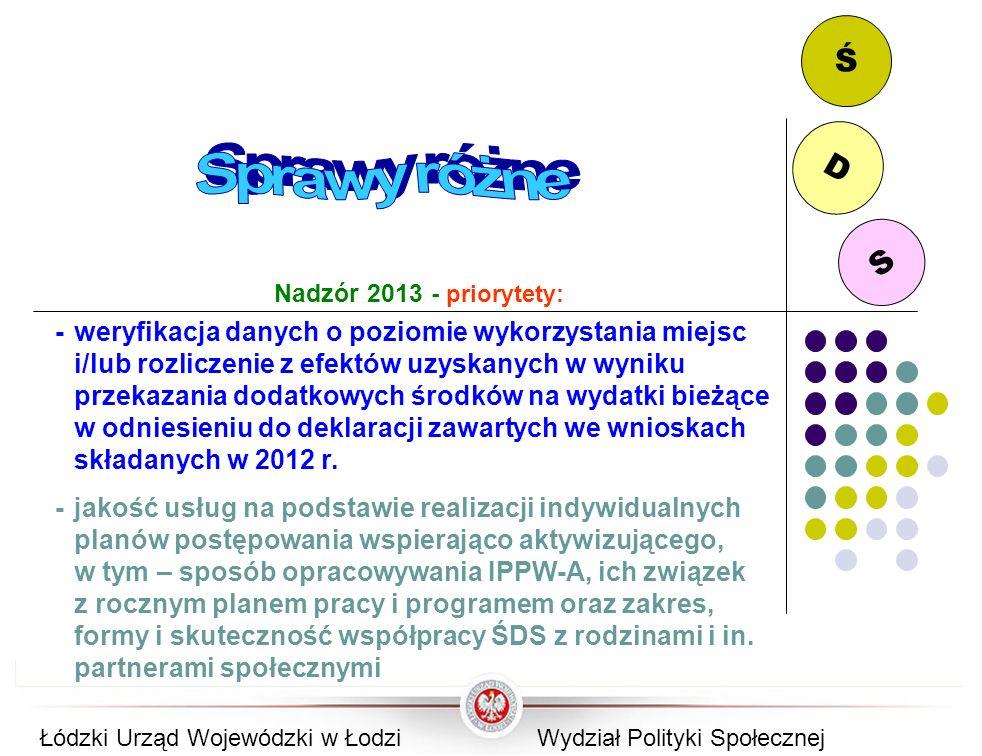 Ś D. Sprawy różne. S. Nadzór 2013 - priorytety:
