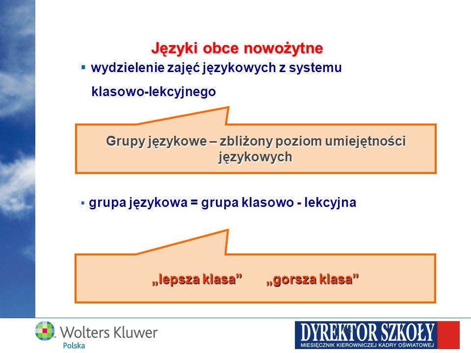 wydzielenie zajęć językowych z systemu