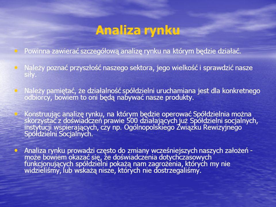 Analiza rynku Powinna zawierać szczegółową analizę rynku na którym będzie działać.