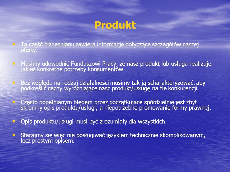 Produkt Ta część biznesplanu zawiera informacje dotyczące szczegółów naszej oferty.