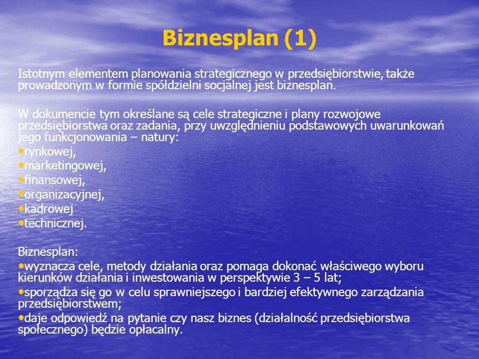 Biznesplan (1) Istotnym elementem planowania strategicznego w przedsiębiorstwie, także prowadzonym w formie spółdzielni socjalnej jest biznesplan.