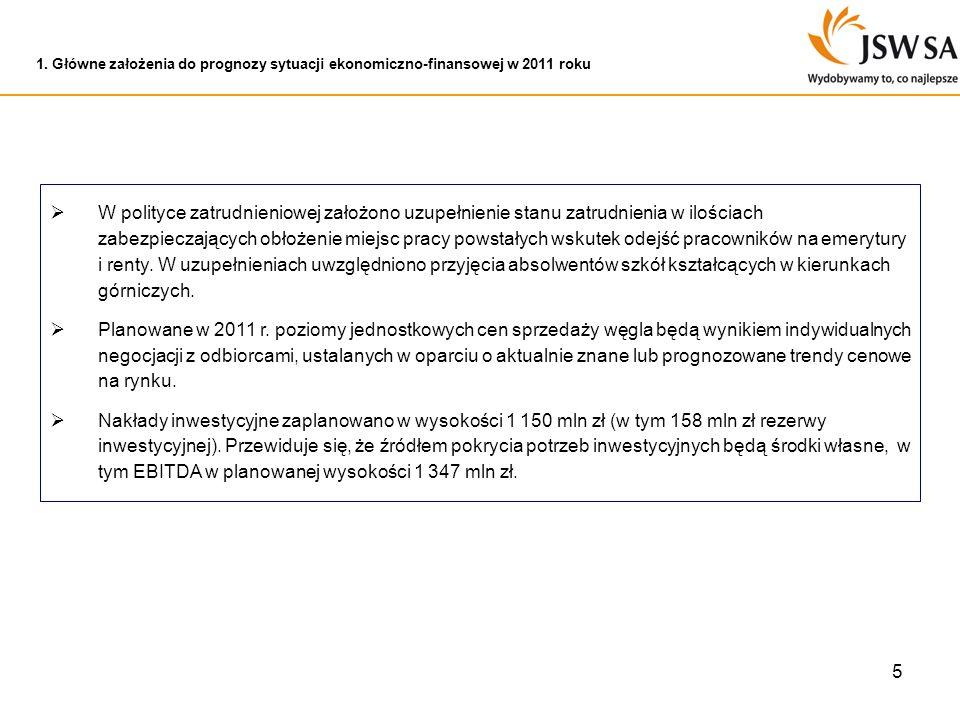 1. Główne założenia do prognozy sytuacji ekonomiczno-finansowej w 2011 roku