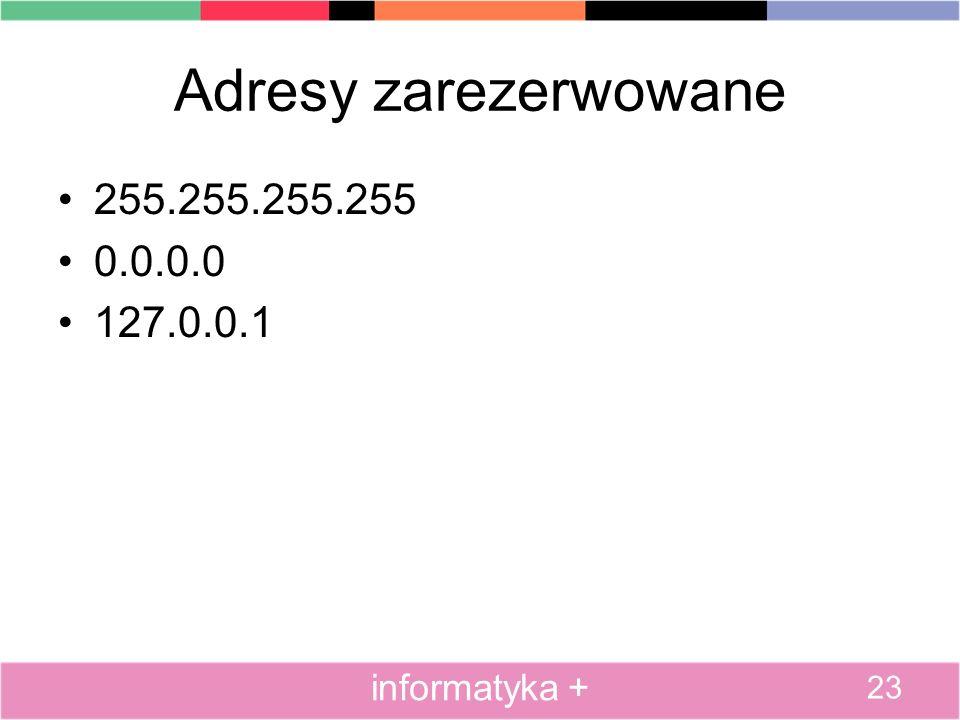 Adresy zarezerwowane 255.255.255.255 0.0.0.0 127.0.0.1 informatyka +
