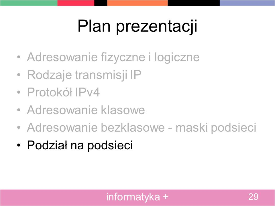 Plan prezentacji Adresowanie fizyczne i logiczne Rodzaje transmisji IP
