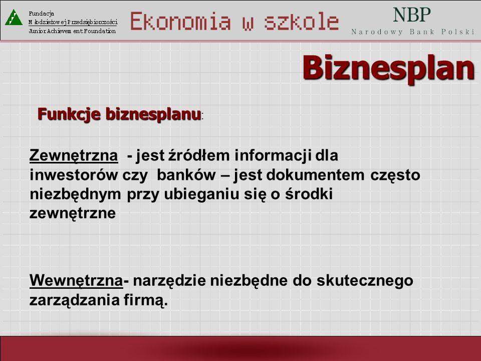 Biznesplan Funkcje biznesplanu: