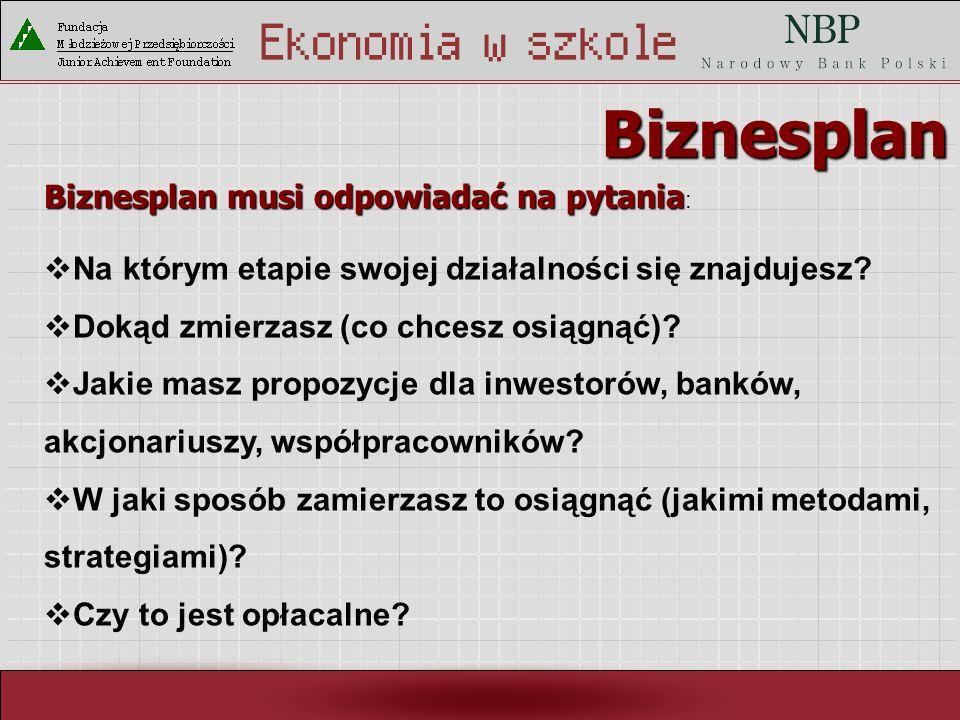 Biznesplan Biznesplan musi odpowiadać na pytania:
