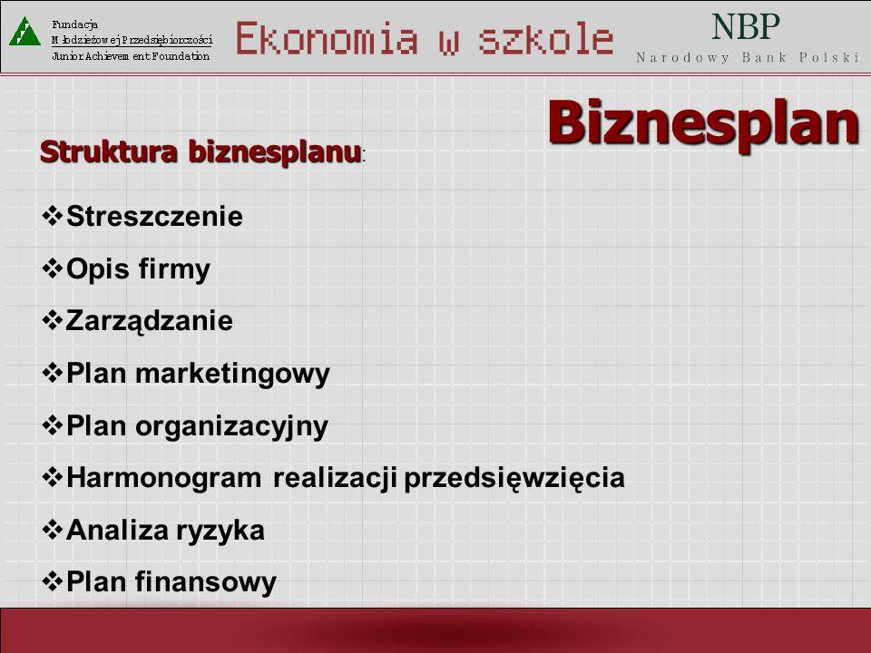 Biznesplan Struktura biznesplanu: Streszczenie Opis firmy Zarządzanie