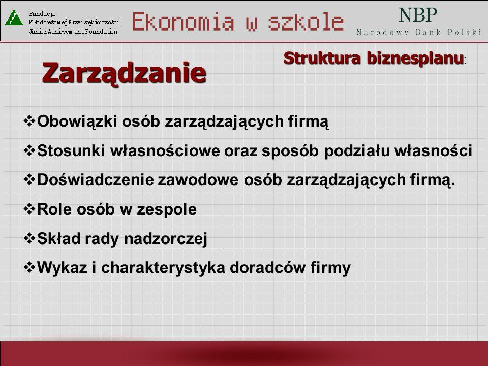 Zarządzanie Struktura biznesplanu: Obowiązki osób zarządzających firmą