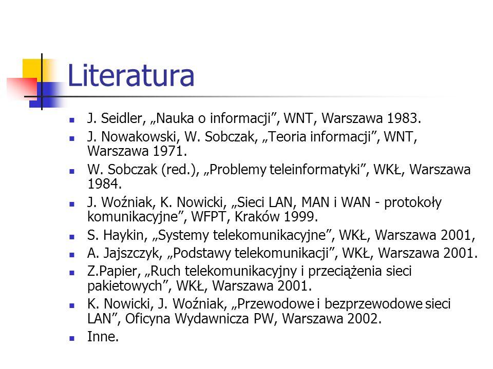 "Literatura J. Seidler, ""Nauka o informacji , WNT, Warszawa 1983."
