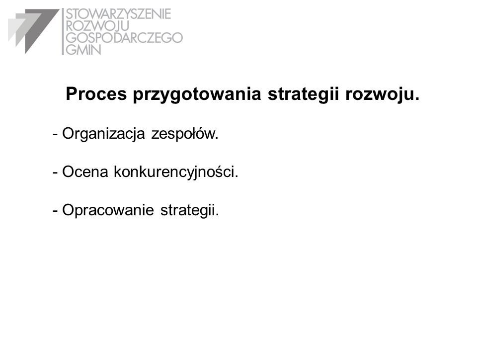 Proces przygotowania strategii rozwoju.
