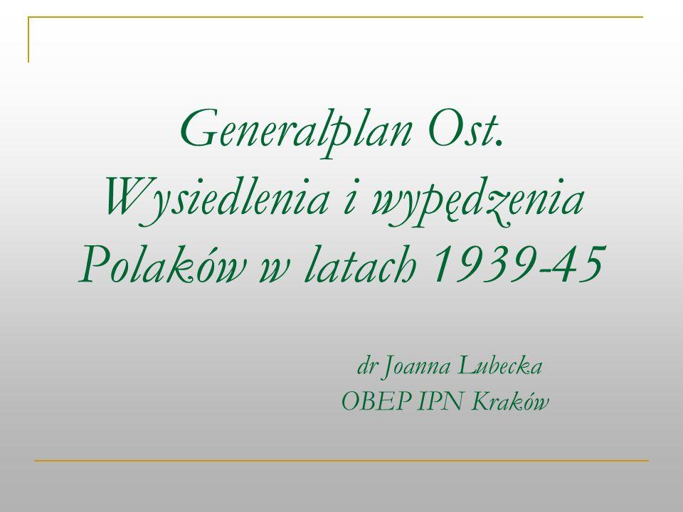 Generalplan Ost. Wysiedlenia i wypędzenia Polaków w latach 1939-45