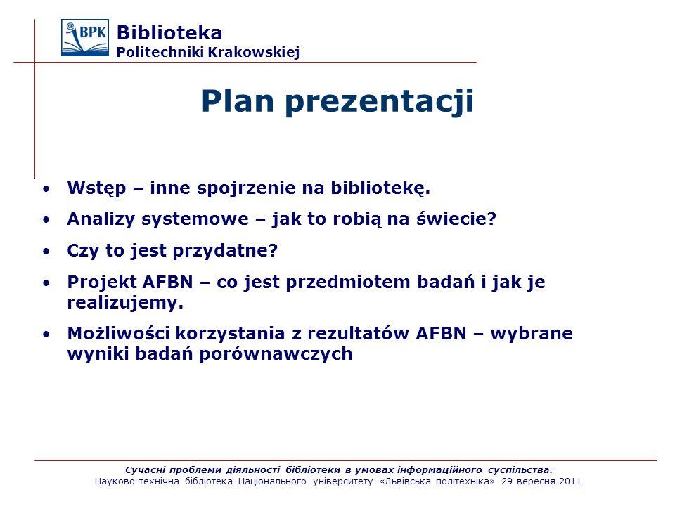 Plan prezentacji Biblioteka Politechniki Krakowskiej