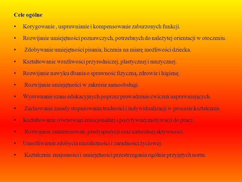 Cele ogólne Korygowanie , usprawnianie i kompensowanie zaburzonych funkcji.
