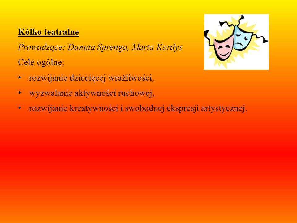 Kółko teatralneProwadzące: Danuta Sprenga, Marta Kordys. Cele ogólne: rozwijanie dziecięcej wrażliwości,