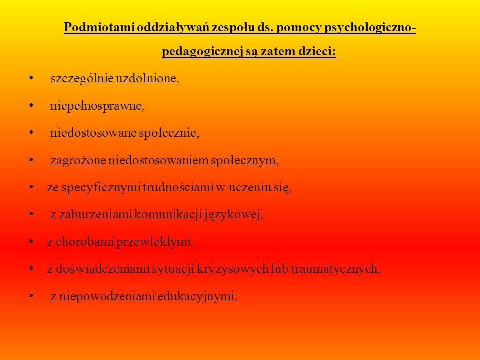 Podmiotami oddziaływań zespołu ds