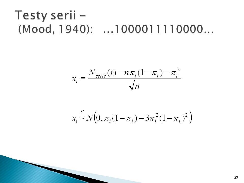 Testy serii - (Mood, 1940): ...1000011110000…