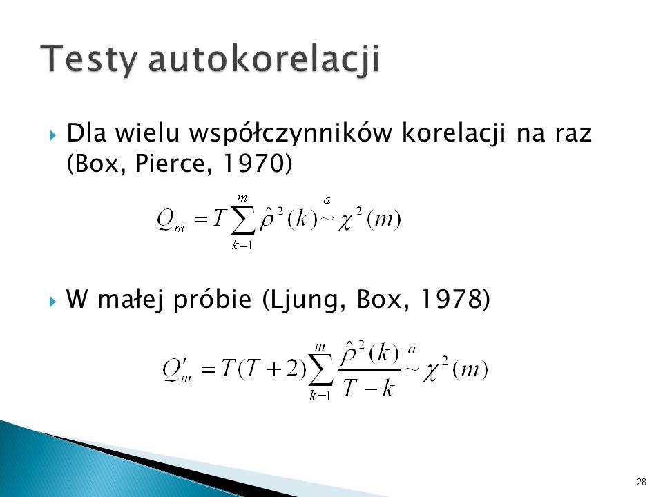 Testy autokorelacjiDla wielu współczynników korelacji na raz (Box, Pierce, 1970) W małej próbie (Ljung, Box, 1978)