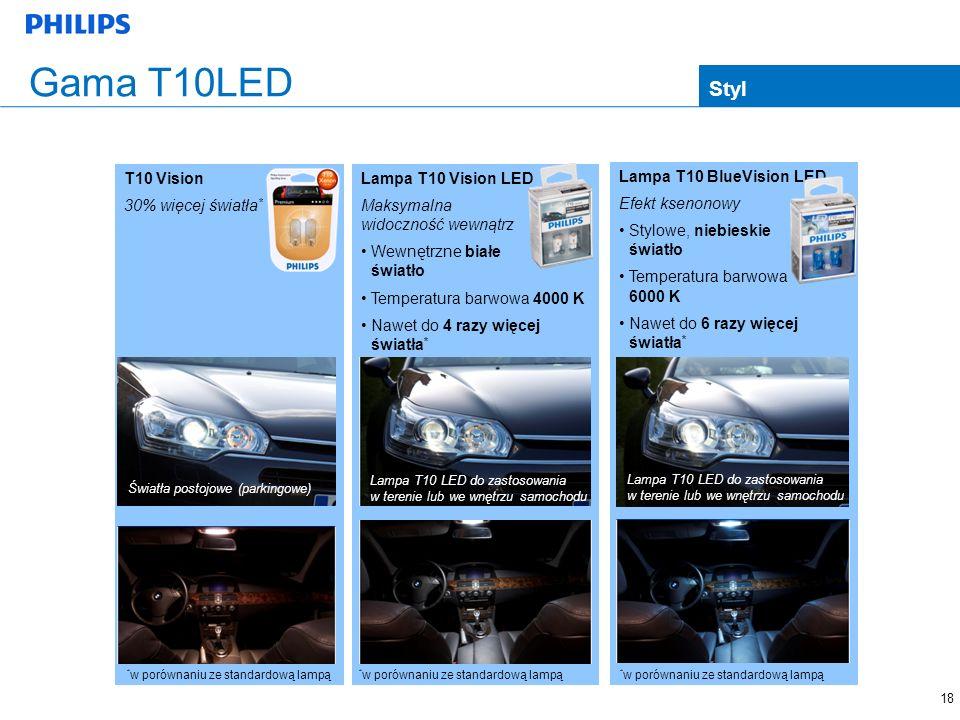 Gama T10LED Styl T10 Vision 30% więcej światła* Lampa T10 Vision LED