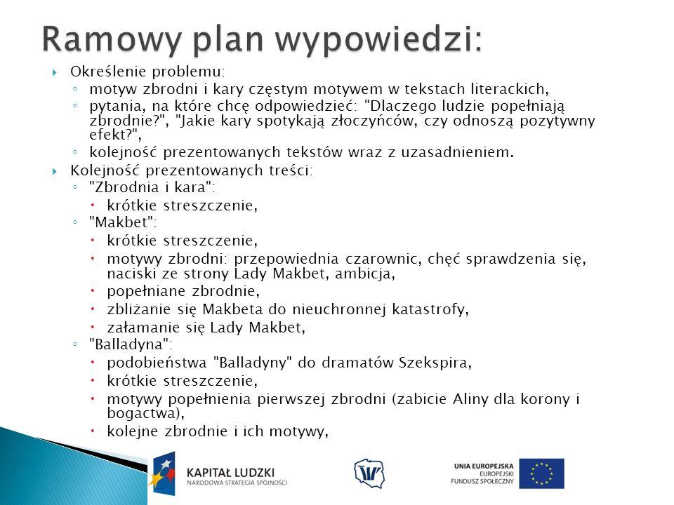 Ramowy plan wypowiedzi:
