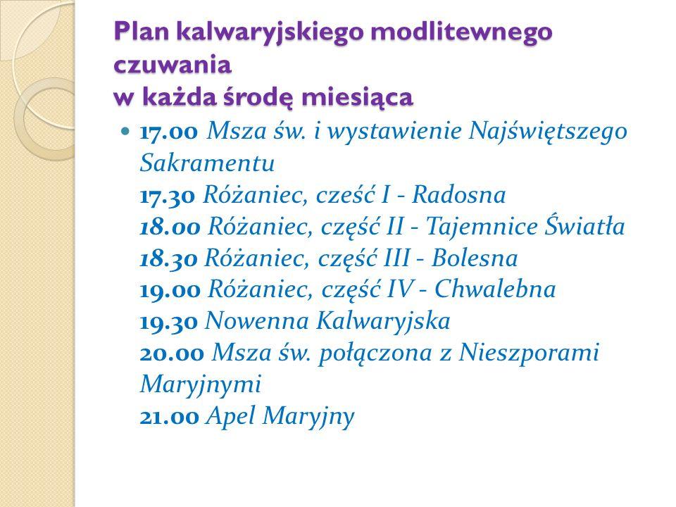 Plan kalwaryjskiego modlitewnego czuwania w każda środę miesiąca