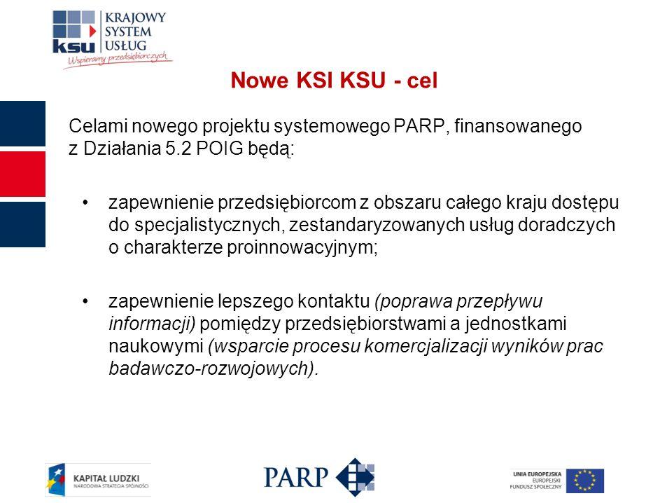 Nowe KSI KSU - cel Celami nowego projektu systemowego PARP, finansowanego z Działania 5.2 POIG będą: