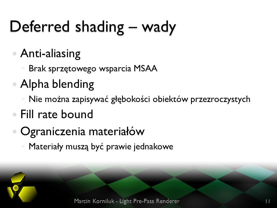 Deferred shading – wady