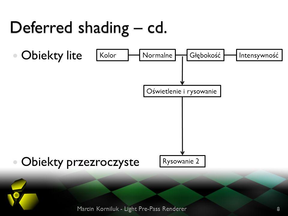 Deferred shading – cd. Obiekty lite Obiekty przezroczyste Kolor